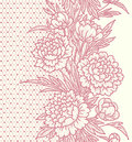 Peonies. Vertical lace Seamless Pattern.