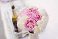 Peony bouquet wedding on table Stock Image