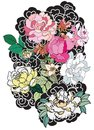 Peony flower and rose tattoo on cloud and wave background.Hand drawn Japanese tattoo style