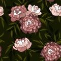 stock image of  Seamless vintage spring purple peony floral pattern