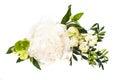 Peony flowers arrangement on white background isolated. Festive