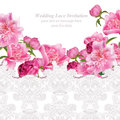 Peony flowers and delicate lace card. Springtime fresh natural composition Vector