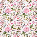 Peony flowers, sakura, feathers. Seamless floral pattern. Watercolor Royalty Free Stock Photo