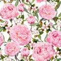 Peony flowers, sakura. Floral seamless background. Watercolor