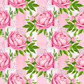 Peony flowers seamless pattern background. Tender pink flowers. Wedding design. Watercolor illustration