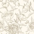 Peony flowers seamless pattern brown beige sepia