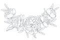 Peony rose laurel foliage garland black white