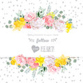 Peony rose narcissus pink flowers and decorative eucaliptus leaves vector design card speckled triangle confetti backdrop all Stock Images