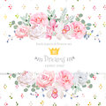 Peony, rose, orchid, camellia, pink flowers and decorative eucaliptus leaves vector design card