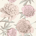 Peony sketch pattern seamless shabby chic flower background for you scrapbooking Stock Image