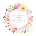 Peony, wild rose, orchid, carnation, camellia, hydrangea, blue berries and green leaves vector design round card Royalty Free Stock Photo