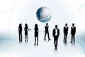 People on the abstract globe background Royalty Free Stock Photo