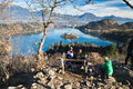 stock image of  People admiring popular destination scenics in slovenia on lake bled