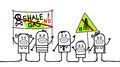 People against shale gas hand drawn cartoon characters Royalty Free Stock Photography