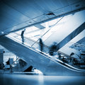 People at the airport escalator Royalty Free Stock Photo