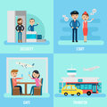 People In Airport Flat Concept Royalty Free Stock Photo