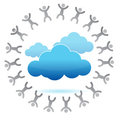 People around a cloud computing concept Stock Images