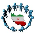 People around Iran map flag Stock Images