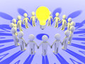 People around a light bulb d form circle Royalty Free Stock Photography