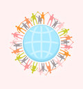 People around the world holding hands unity concept illustratio illustration eps vector transparencies used Stock Photos