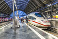 People arrive and depart at Frankfurt train station Royalty Free Stock Photo