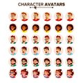 People Avatar Set Vector. Man, Woman. Circle Pictogram. Expressive Picture. Human Emotions. Stylish Image. Icon