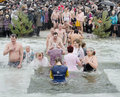People bathe in the river in winter . Christian religious festival Epiphany Royalty Free Stock Images