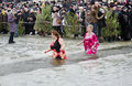 People bathe in the river in winter . Christian religious festival Epiphany Stock Photo
