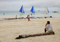 People on the beach in Boracay, Philippines Royalty Free Stock Photo