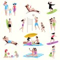 People On Beach Icons Royalty Free Stock Photo