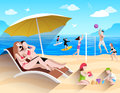 People on beach playing and surfing summer sea flat vector illustration Stock Images