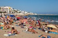 People at beach in sitges spain august august spain resort town known for its sandy Royalty Free Stock Images