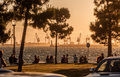 People on beach of thessaloniki greece may unidentified citizens are invading to the town where is the cheapest mode entertainment Stock Photography