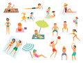 People on the beach. vector illustration