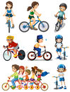 People biking illustration of the on a white background Royalty Free Stock Photo