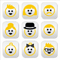 People with blond hair icons set vector labels of isolated on white Stock Photo