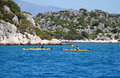 People boating in the sea, near island Kekova Royalty Free Stock Photo