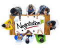 People brainstorming about negotiation concepts group of Stock Photos