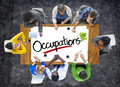 People brainstorming about occupations concepts group of Royalty Free Stock Photos