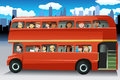 People in a bus vector illustration of different looking out from the windows of Stock Images
