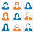 People buttons social icons vector illustration of blue and orange Royalty Free Stock Image