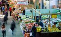 People buy groceries at jean talon market the largest outdoor public in north america circa april in montreal Stock Image