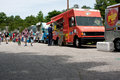 People buy meals from food trucks at festival atlanta ga usa may patrons the great an event celebrating great britain and the Royalty Free Stock Images