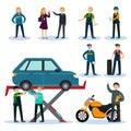 People In Car Repair Service Set
