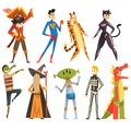 People In Carnival Costumes Set, Funny Persons Dressed As A Pirate, Magician, Tigress, Superman, Dinosaur, Alien, Zombie