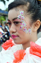People on carnival tarakan indonesia dec beautiful young woman with costumes from old plastic bags in celebration nd tarakan Stock Image