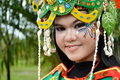 People on carnival tarakan indonesia dec close up face of a young girl dressed in costumes in celebration nd tarakan cultural Stock Photo