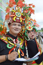 People on carnival tarakan indonesia dec couple master of ceremony with combined traditional dress in celebration nd tarakan Stock Image