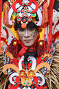 People on carnival tarakan indonesia dec a man with combined traditional dress in celebration nd tarakan cultural dec in tarakan Royalty Free Stock Images