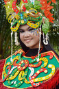People on carnival tarakan indonesia dec portrait of a young girl dressed in costumes in celebration nd tarakan cultural dec in Royalty Free Stock Images